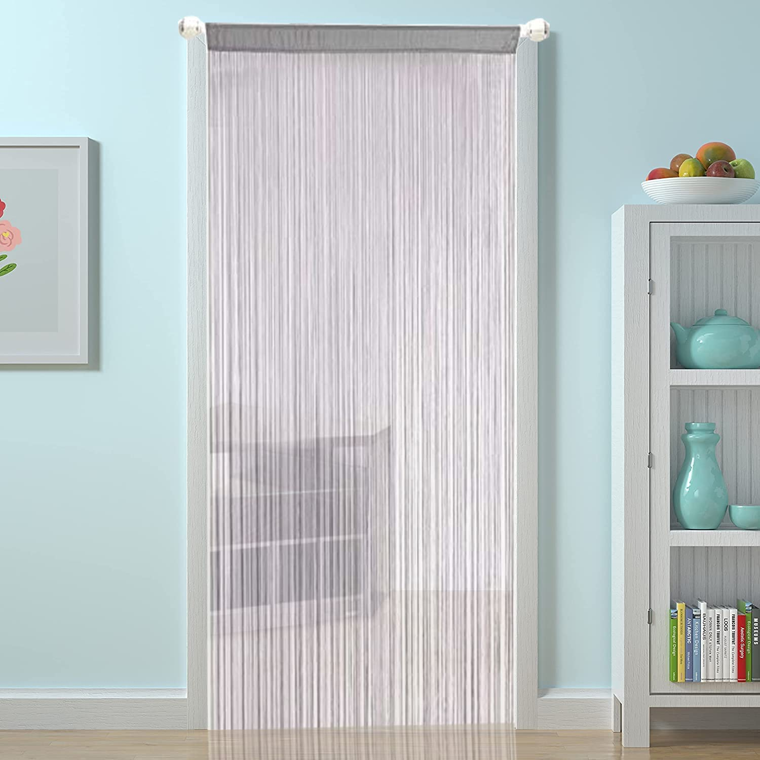 Buy HSYLYM String Curtains for Kitchen Grey Curtains Room Divider ...
