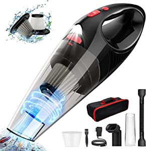 Wopulite Handheld Vacuum Cordless Hand Vacuum Cleaner Portable Car Vacuum 7000Pa Cyclonic Suction HEPA Filters,LED Light,Lightweight Small Hand vac Quick Rechargeable Li-ion Battery,Wet Dry for Home