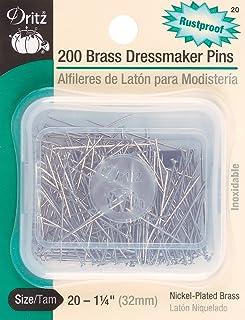 Dritz 20 Dressmaker Pins, Brass, 1-1/4-Inch (200-Count)