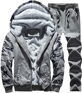 Maweisong Men' Fleece Lined Hoodies Sweat Suit Thicken Tracksuit Set Coat + Pants Sport Set