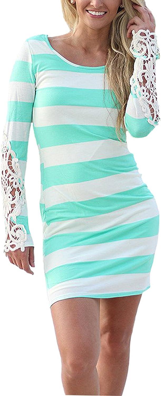 Hiblueco Women's Long Sleeve Striped Crochet Lace V Back Bodycon Sexy Dress