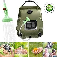 ASANMU Solar Shower Bag, 20L Solar Heating Camping Shower Bag Portable Outdoor Travel Sun Shower Bag Shower Head for Summer Beach Climbing Fishing Hiking