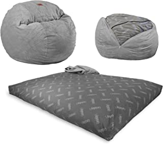 CordaRoy's KC CH Chenille, Convertible Chair Folds Bed, As Seen on Shark Tank-Charcoal, King Size Bean Bag