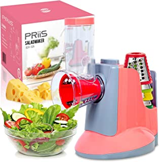 PRiiS Salad Shooter Professional Maker Machine Electric Cheese Shredder Nuts Grater Potato Cutter Slicer Chopper w/ 5 Free Shooter Replacements Parts for Health Vegetarian (2 color, rosy)