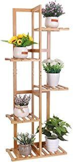 unho 5 Tier Plant Stand Bamboo Garden Flower Pot Shelf 6 Potted Balcony Plant Rack Wood Succulent Display Holder Indoor fo...