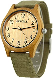 BEWELL 124B Unisex Canvas Strap Casual Wood Watch, Beige Light Quartz Analogue Big Dial Round Bamboo Wristwatches