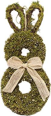 Easter Bunny Garland, Easter Rabbit Wreath, Handmade Rattan Bunny Garland Wreath Pendant for Front Door Decor, Easter Bunny S