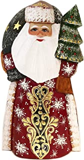 Needzo Santa Claus Figurine Wooden Russian Hand Painted Carved Father Frost Christmas Decoration 7 1/4 Inch, Red Gold