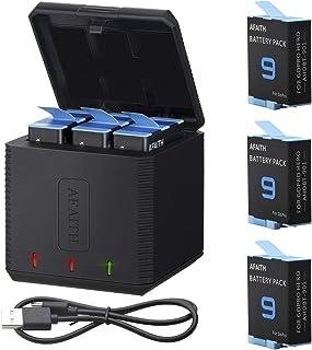 AFAITH 3-pack ersättningsbatterier med batteriladdare för GoPro Hero 9 svart, 3-kanals batteriladdningsförvaringslåda med ...