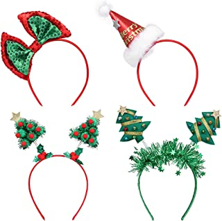 Christmas Headbands, Frcolor Christmas Tree Santa Hat Sequin Bows Headbands Party Hats for Kids Adults Christmas Holiday P...