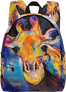 Backpack Daypack Lightweight Rainbow Doodle Giraffe Rucksack Canvas Book Bag for boys girls Teens