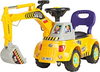Best Choice Products Kids Excavator Construction Digger Ride On Truck w/ Gardener Set, Music, Lights, Storage - Yellow