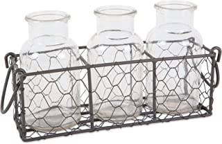 DII Z02306 Rustic Farmhouse Vintage Chicken Wire Flatware Caddy with Clear Glass Vases, Gray