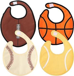 KF Baby 4pc Soft Waterproof 3 Layers Cotton Absorbent Wrap Sports Ball Bibs Set