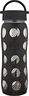 Lifefactory 22-Ounce BPA-Free and Fused Gold Glass Water Bottle with Leakproof Classic Cap and Silicone Sleeve, Pearl Dot