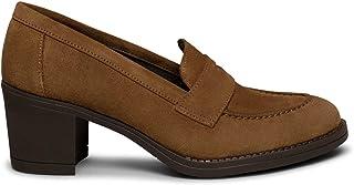 Zapatos miMaO. Zapatos de Piel Hechos en España. Mocasines de Mujer con Antifaz. Mocasines con Tacón Ancho y Plantilla Ult...