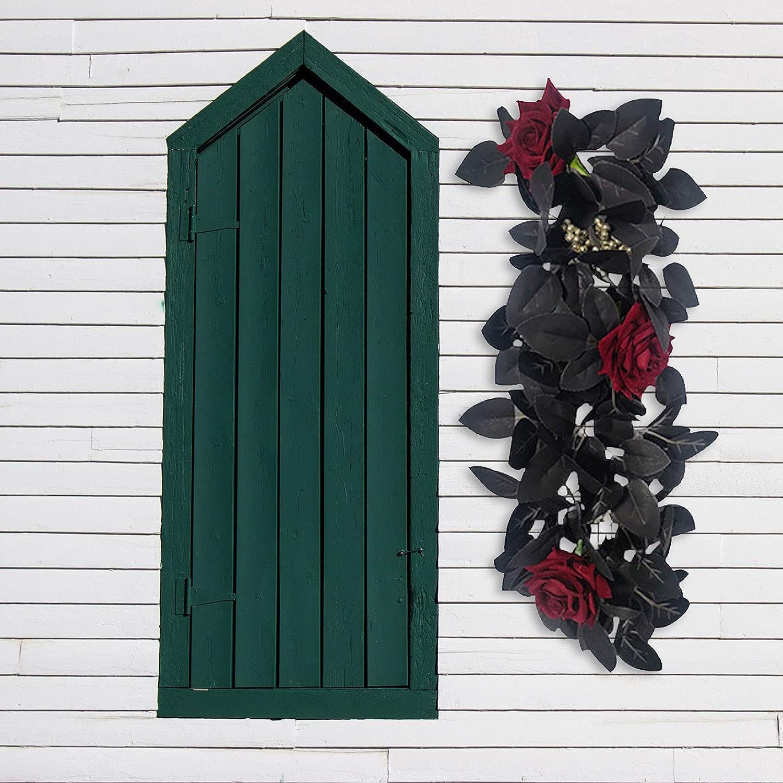 YQYAZL Denver Mall Halloween Door Free shipping New Lintel Black Rose Swag Sunflower Artifici