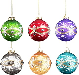 Comix Christmas Balls Ornaments Christmas Tree Glass Ball Decorations for Xmas Trees Wedding Party Home Decors (3.15''- 6pk, Matt Jeweled Speckled)-G1702