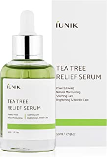 iUNIK Tea tree Relief Natural Facial Serum 1.71 Fl Oz, Acne Treatment Serum Ampoule Clear Skin – Face Serum for Acne, Brea...