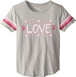 chaser kids vintage jersey cold shoulder flutter top little kids big  soft vintage jersey love tee (little kids big kids)