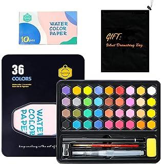 ZITFRI 36 Couleurs Kit de Peinture Aquarelle Palette Transportable-Boîte d'Aquarelle Professionnelle +10 Papiers +3 Stylo ...