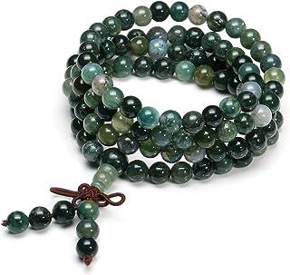 QGEM - Pulsera Buda con 108 perlas, pulsera de oración budista, tibetana de piedras preciosas, yoga, Buda, Mala, cadena, c...