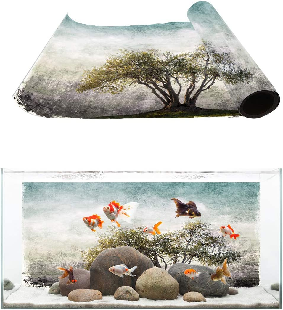 TH XHome Aquarium Ranking Regular store TOP6 Décor Backgrounds Forest Rustic Tree Mistory
