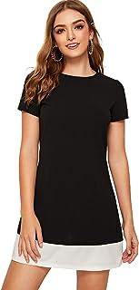 Shein Women's Short Sleeve Contrast Hem Shift Tunic Dress Black M