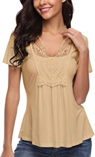 390895f5a4 MISS MOLY Women's Gypsy Top Short Sleeve V Neck Summer Tunic Tops Ruched  Front T Shirt
