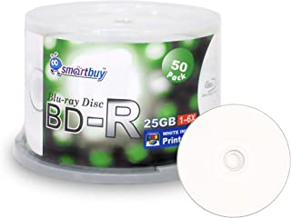 Smartbuy 50-disc 25gb 6X Bd-r BDR Blu-ray Single Layer White Inkjet Hub Printable Blank Data Recordable Media Disc with Cakebox/Spindle Packing