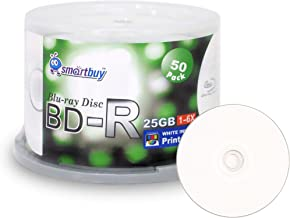 Smartbuy 50 Pack Bd-r 25gb 6X Blu-ray Single Layer Recordable Disc Printable White Inkjet Blank Data Video Media 50 Disc Spindle