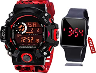 Acnos Brand - A Digital Watch with Square LED Shockproof Multi-Functional Automatic 5 Color Army Strap Waterproof Digital ...