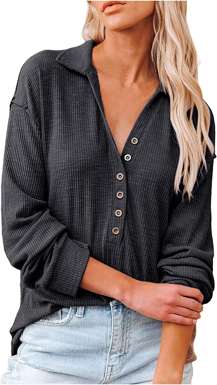 Women Casual Button Up V Neck Blouses Long Sleeves Solid Color Stand Collar Knitted Tops Cute Relaxed Fit Shirts