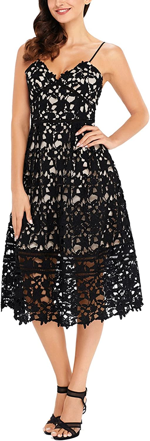 GOSOPIN Women A Line Lace VNeck Cocktail Party Midi Skirt Spaghetti Strap Dress