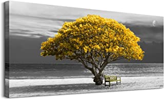 wall art for living room Decorations Photo Prints - panoramic black and white with yellow trees The moon scenery - Modern ...