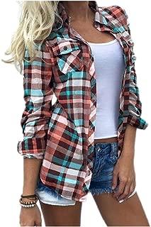 Comaba Womens Oversize Britain Plaid Turn Down Collar Tops Tee Shirt