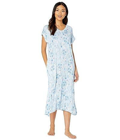 LAUREN Ralph Lauren Rayon Spandex Jersey Knit Short Sleeve Drop Shoulders Split-Neck Ballet Gown (Blue Floral) Women