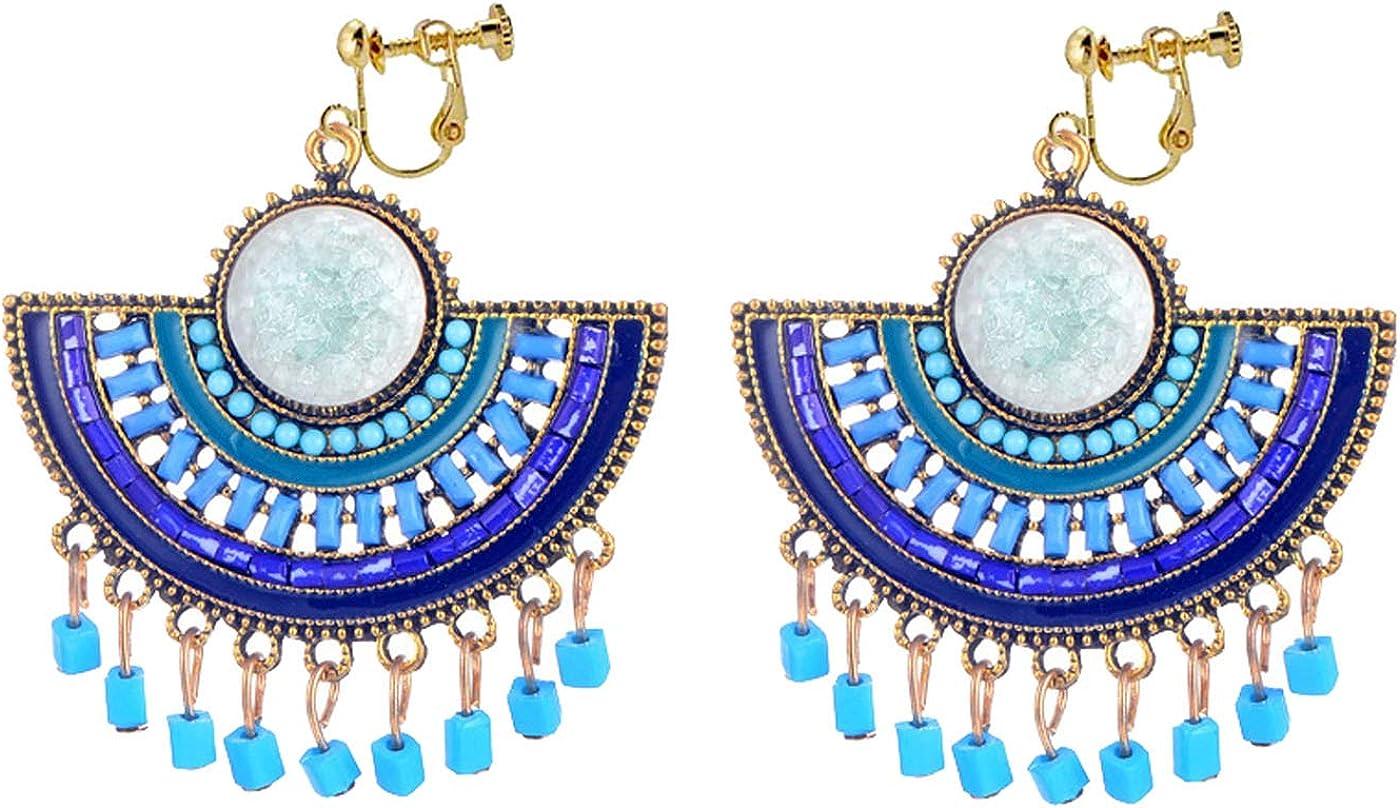 Retro Clip on Bohemian Earrings for Women Girls Fan Shaped Blue Seed Beads Tassel White Stone Dangle Drop
