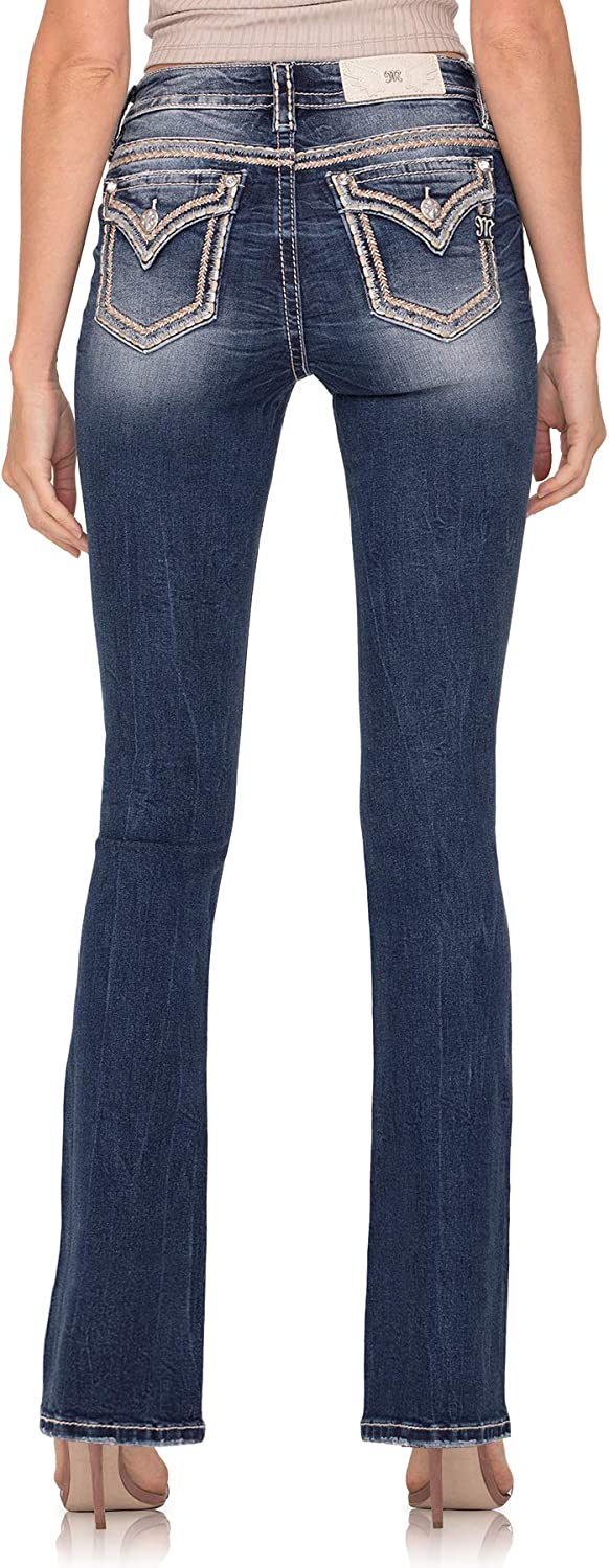 Miss Me Women's Embroidered Mid-Rise Chloe Boot Jeans with Faux Flap Pockets