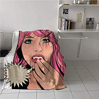 Retro Girl Blanket,Desperate and Distraught Woman Character Crying Pop Art Sixties Comic Book Style,Lightweight All-Season Blanket,Digital Printing Blanket 60