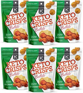KetoLogic Keto Crisps, Buffalo   Low Carb, High Fat, High Protein, Gluten Free   Sustainably Sourced, Oven Baked Keto Snack   1.75 Oz Per Bag, 6 Pack