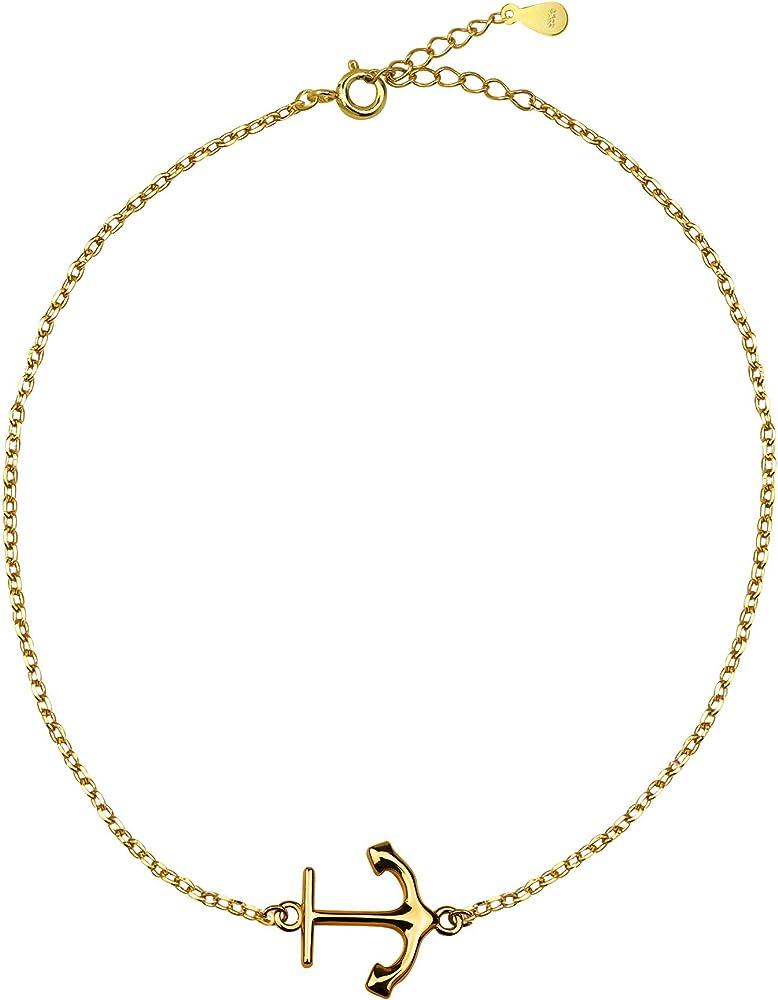 Sofia milani, bracciale da donna con ciondolo a forma di ancora, in vero argento sterling 925 placcato 30230