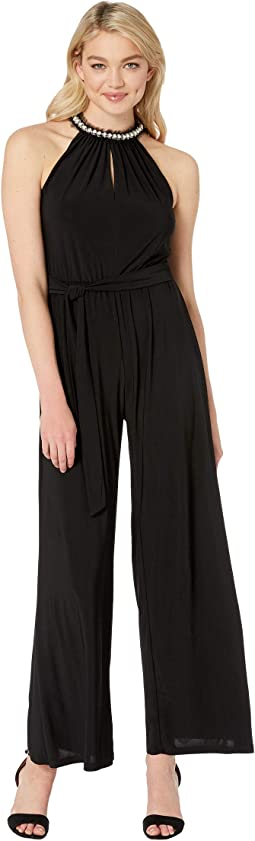 Wide Leg Jumpsuit with Pearl Collar