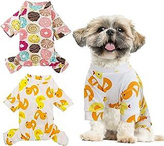 HYLYUN HYLYUN 2 Stück Welpen-Schlafanzug – Katzen Einteiler, weicher Hunde-Pyjama, Baumwolle, Welpen-Strampler, Haustier-Jumpsuits, gemütliche Bodys für kleine Hunde und Katzen, Größe L