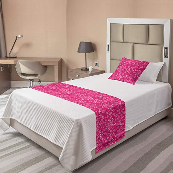Ambesonne Floral Bed Runner Red Black Grey Romantic Boho Style Narcissus Magic Magnolia Rose Vibrant Pattern Print Decorative Accent Bedding Scarf for Hotels Homes and Guestrooms