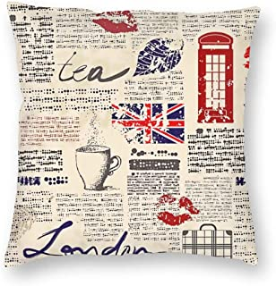 SARA NELL Velvet Square Pillow Cushion Cover,Newspaper London Cushion Covers Home Decorative Throw Pillowcases 18x18inch