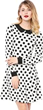 Allegra K Women's Above Knee Contrast Peter Pan Collar Polka Dot A Line Dress