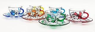set de 6 tasses Penguen avec soucoupes cl.9 en cristal peint à la main style Murano Venise