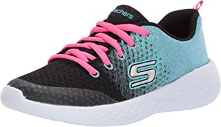 Skechers Kids Girls' GO Run 600-SPARKLE Speed Sneaker, Black/Blue, 12 Medium US Little Kid