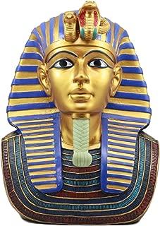 Ebros Large Golden Cobra And Vulture Nemes Mask of Pharaoh Statue Egyptian Dynasty King Tut Bust Figurine 11